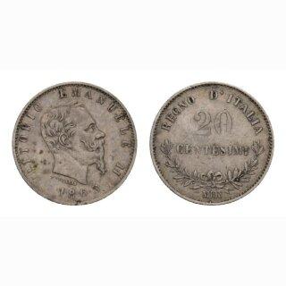 Italien  20 Centesimi 1863 Vittorio Emanuele II