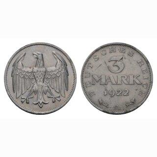 Deutschland 3 Mark 1922 A Weimarer Republik
