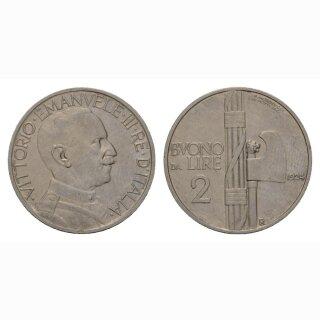 Italien 2 Lire 1924 R  Vittorio Emanuele III