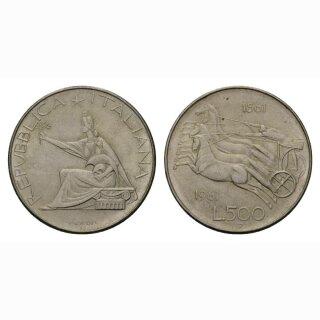 Italien 500 Lire  1961 R Quadriga