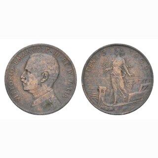 Italien 5 Centesimi 1909 R  Vittorio Emanuele III