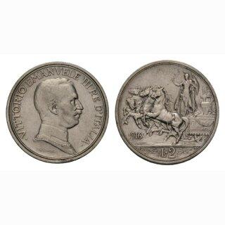 Italien  2 Lire 1916 R Vittorio Emanuele III