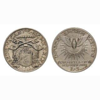 Vatikan 5 Lire  1939 Sede Vacante