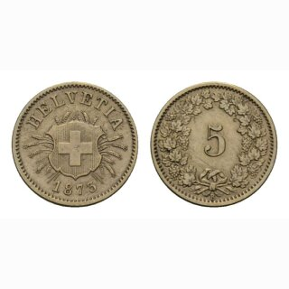 Schweiz 5 Rappen 1873 B Schweizerkreuz