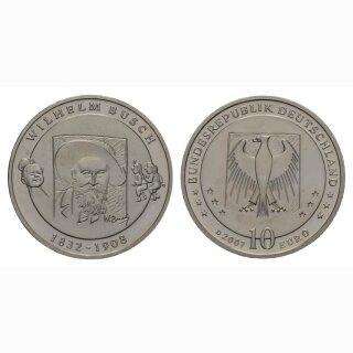 Deutschland 10 Euro 2007 D 175 Jahre Wilhelm Busch