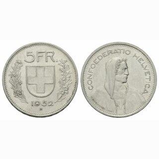 5 Franken 1952 B ss+ Schweiz