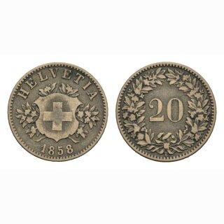 Schweiz 20 Rappen  1858 B