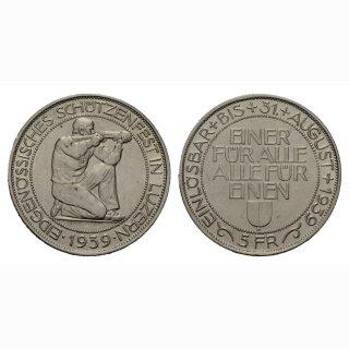 Schweiz 5 Franken Schützentaler Luzern 1939