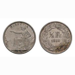 Schweiz 1/2 Franken  1850 Sitzende Helvetia