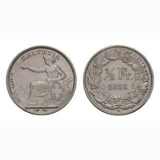 Schweiz 1/2 Franken  1851 Sitzende Helvetia