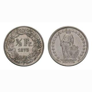 Schweiz 1/2 Franken  1875 Stehende Helvetia