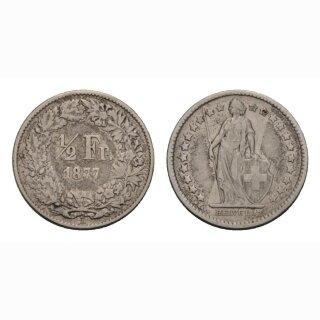 Schweiz 1/2 Franken  1877 Stehende Helvetia