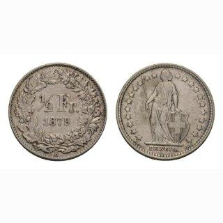 Schweiz 1/2 Franken  1879 Stehende Helvetia