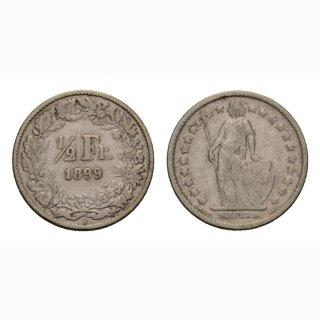 Schweiz 1/2 Franken  1899 Stehende Helvetia