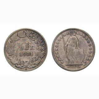 Schweiz 1/2 Franken  1901 Stehende Helvetia