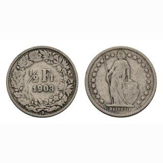 Schweiz 1/2 Franken  1903 Stehende Helvetia
