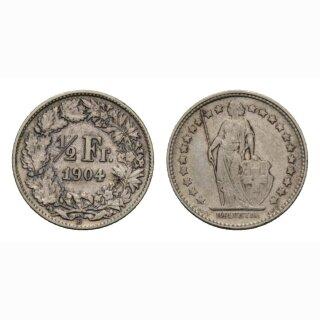 Schweiz 1/2 Franken  1904 Stehende Helvetia