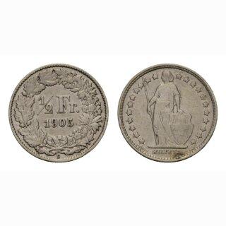 Schweiz 1/2 Franken  1905 Stehende Helvetia