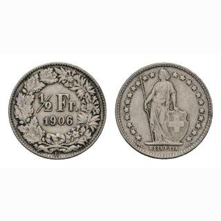 Schweiz 1/2 Franken  1906 Stehende Helvetia