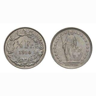 Schweiz 1/2 Franken  1910 Stehende Helvetia