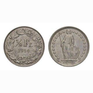 Schweiz 1/2 Franken  1914 Stehende Helvetia