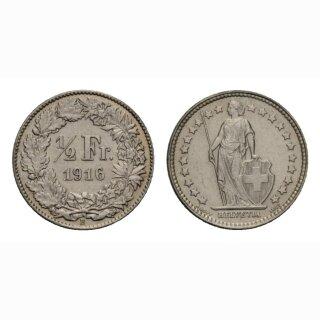Schweiz 1/2 Franken  1916 Stehende Helvetia