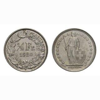 Schweiz 1/2 Franken  1920 Stehende Helvetia