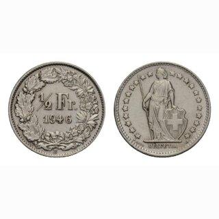 Schweiz 1/2 Franken  1946 Stehende Helvetia Gleichstehend