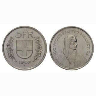 Schweiz 5 Franken 1967 3 Sterne Dominus vor Gesicht