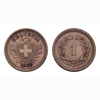 Schweiz 1 Rappen 1908 B