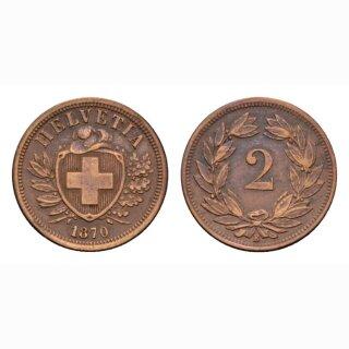 Schweiz 2 Rappen 1870 B