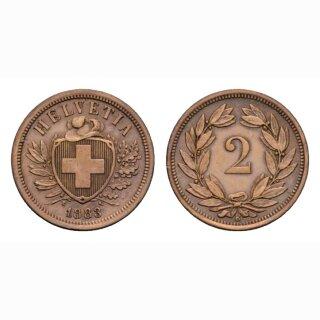 Schweiz 2 Rappen 1883 B