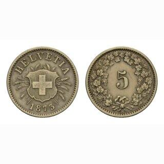 Schweiz 5 Rappen 1873 B