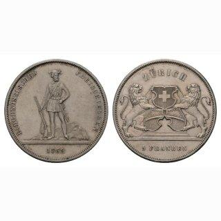 Schweiz 5 Franken 1859 Schützentaler Zürich