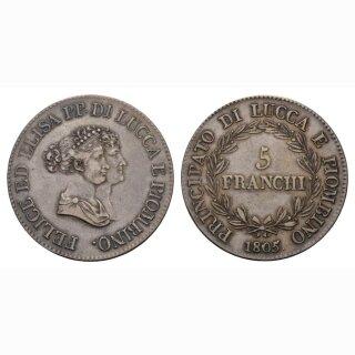 Italien Lucca 5 Lire  1805