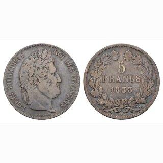 Frankreich 5 Francs 1833 W Louis Philippe I