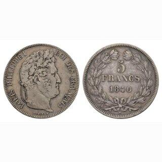 Frankreich 5 Francs 1840 K Louis Philippe I