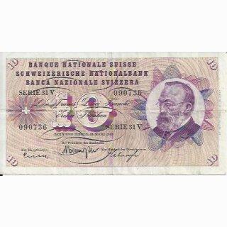 10 Franken Note Keller1963 gebraucht