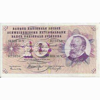 10 Franken Note Keller1963 gebraucht+