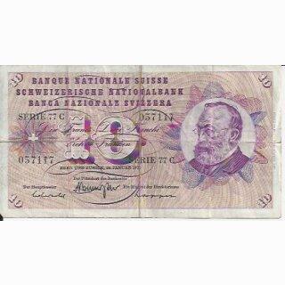 10 Franken Note Keller1972 stark gebraucht