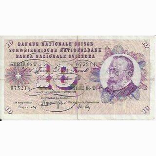 10 Franken Note Keller1973 stark gebraucht