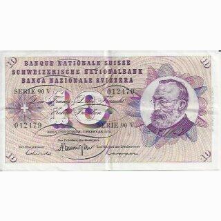 10 Franken Note Keller1974 gebraucht