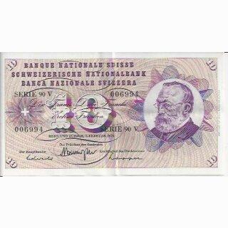 10 Franken Note Keller1974 wenig gebraucht