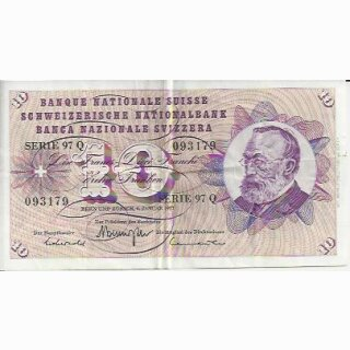 10 Franken Note Keller1977 gebraucht