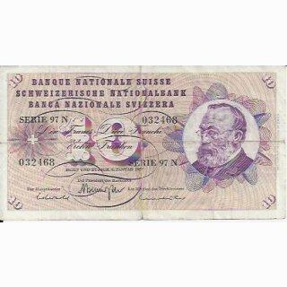 10 Franken Note Keller1977 stark gebraucht