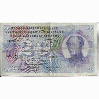 20 Franken Note Dufour 1971 stark gebraucht