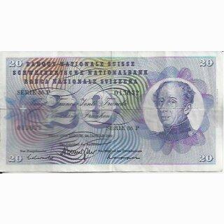 20 Franken Note Dufour 1972 gebraucht