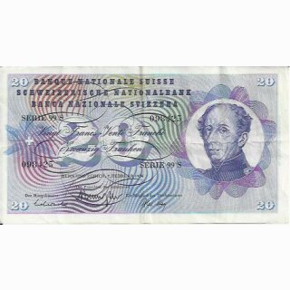 20 Franken Note Dufour 1974  gebraucht