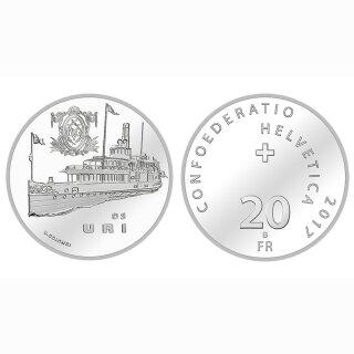 Schweiz 20 Franken 2017 B Dampfschiff Uri