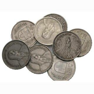 Silber 5 Franken div. Jahrgänge (10 Stück) Schweizer Silber